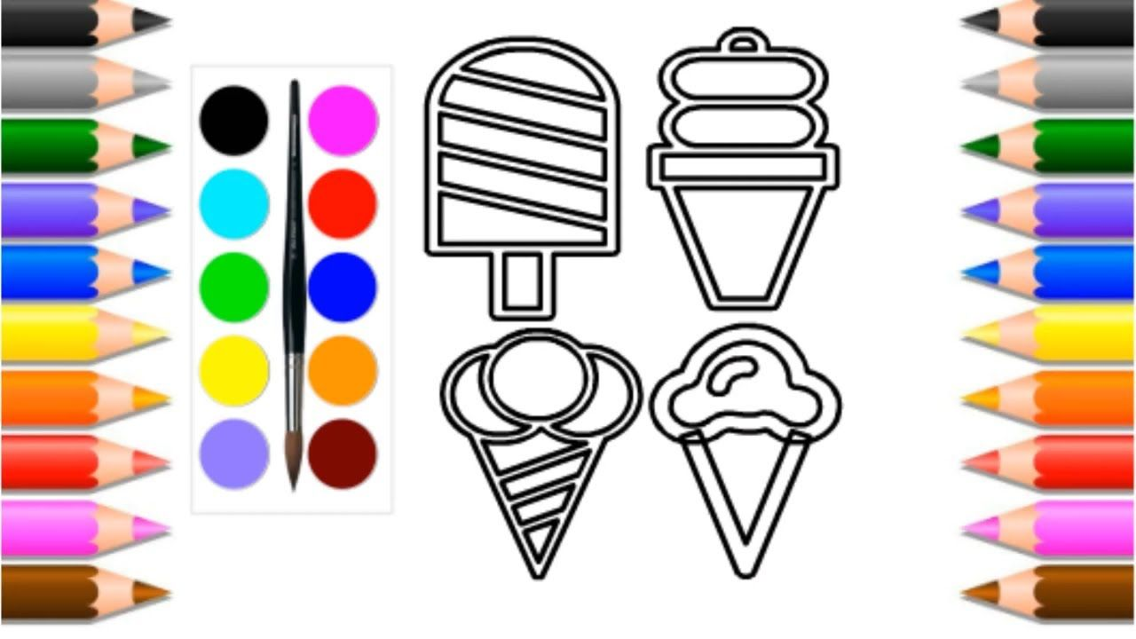 Ice cream coloring drawing for kids 2019/Crafts fun ...