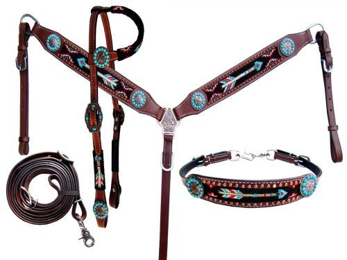 4be0270112c74f 4 Piece beaded arrow headstall and breast collar set Chicks Discount  Saddlery, Wither Strap,