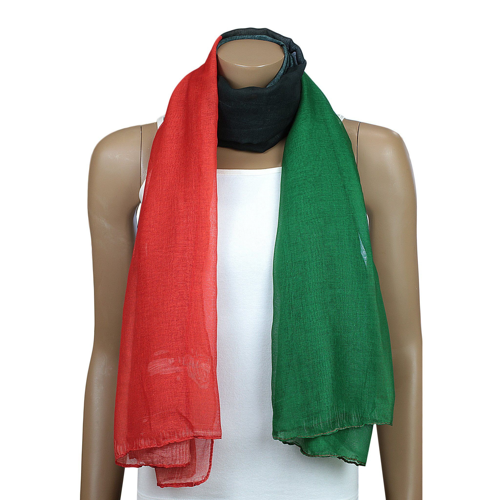 A beautiful lightweight oversized scarf featuring the Red, Black and Green colors associated with African American culture and Black Liberation. Perfect, If you're looking for a fashion accessory to help you show your pride in our culture.