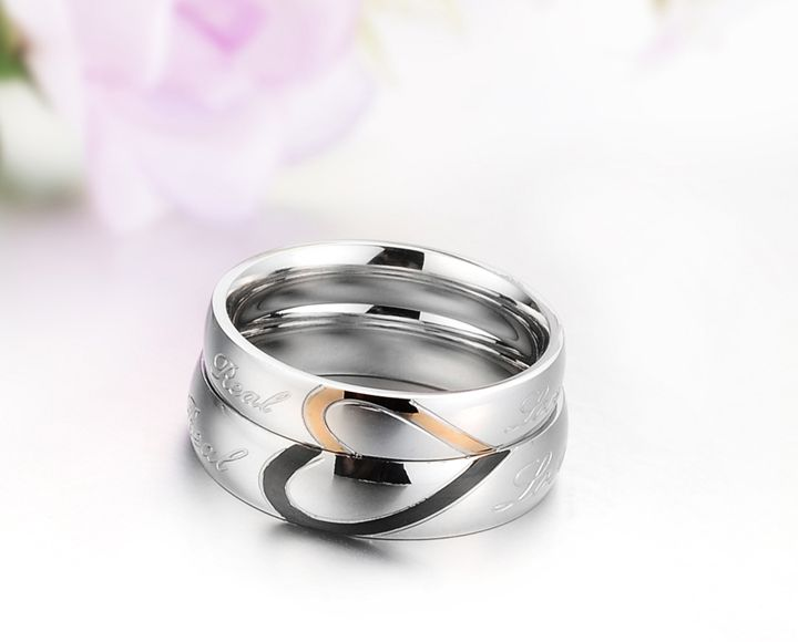 Love Heart Titanium Stainless Steel Mens Ladies Couple Promise Ring Wedding Bands Matching Set 3056