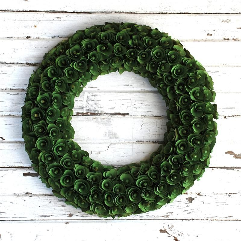 Wood Curl Wreath Green 20 Inch Wood Curl Wreath
