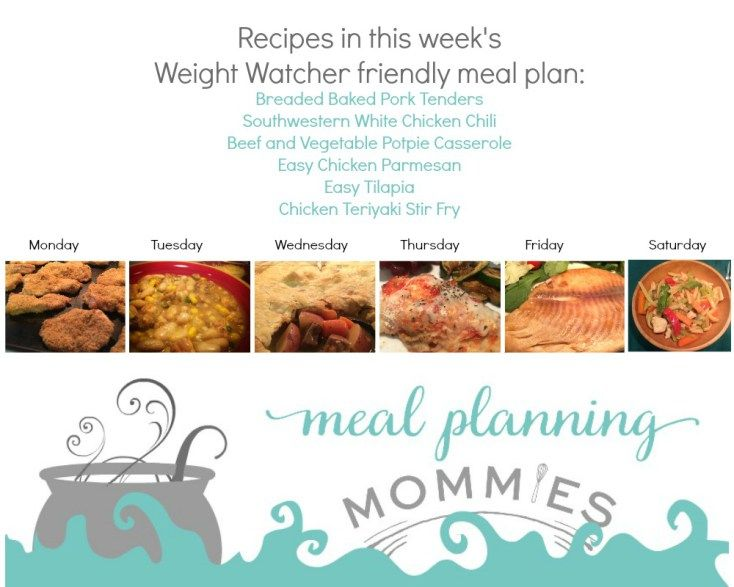 Free Weight Watcher Friendly Meal Plan And Grocery List