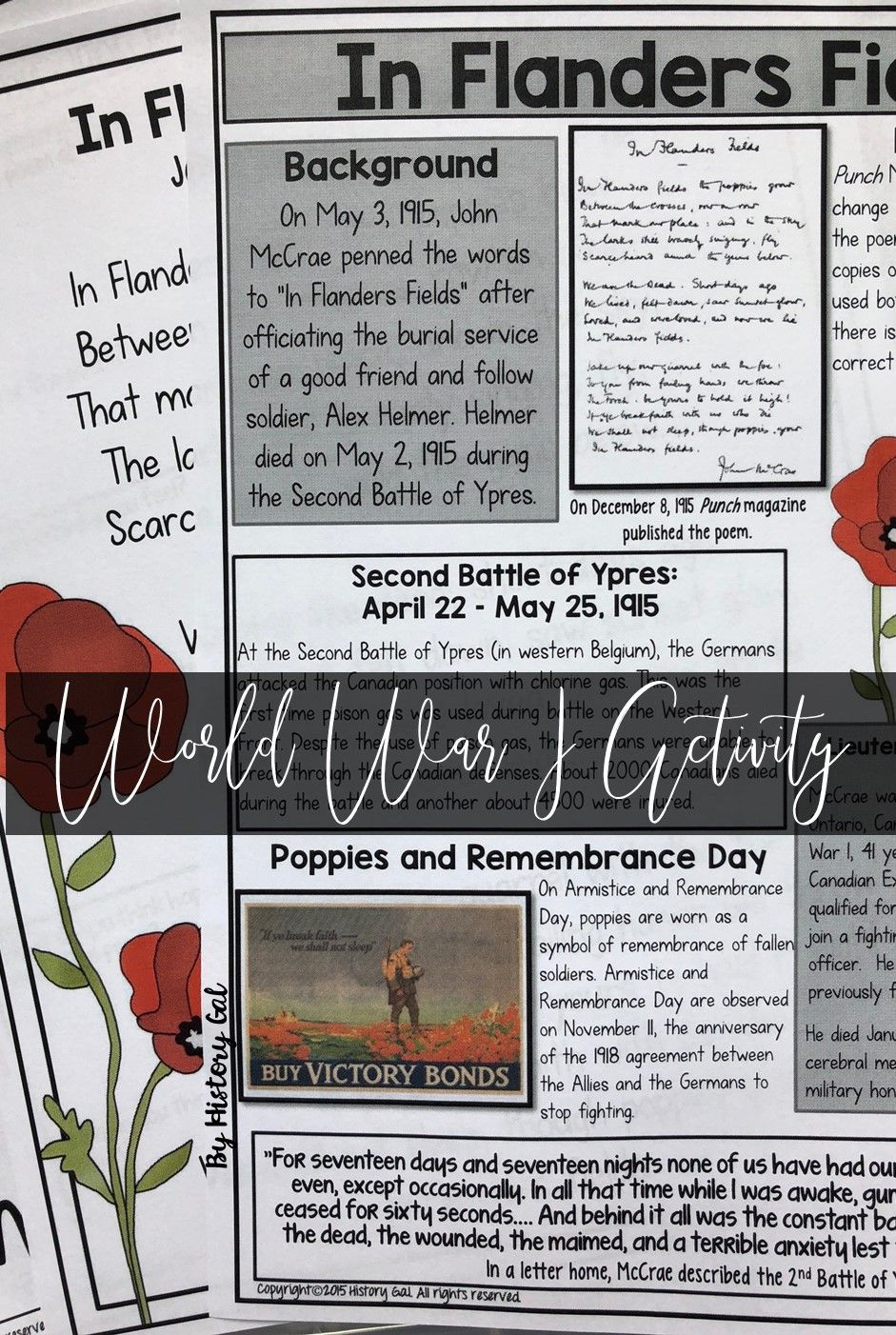 In Flanders Fields A World War I Poetry Analysis Works With Distance Learning World War I World War Battle Of Ypres