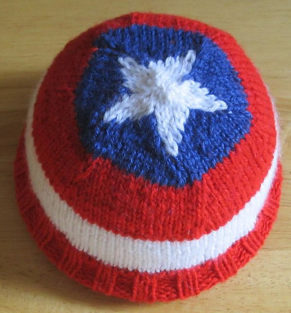 c061a0693de Free knitting pattern for Hat of America inspired by Captain America and  more super hero knitting