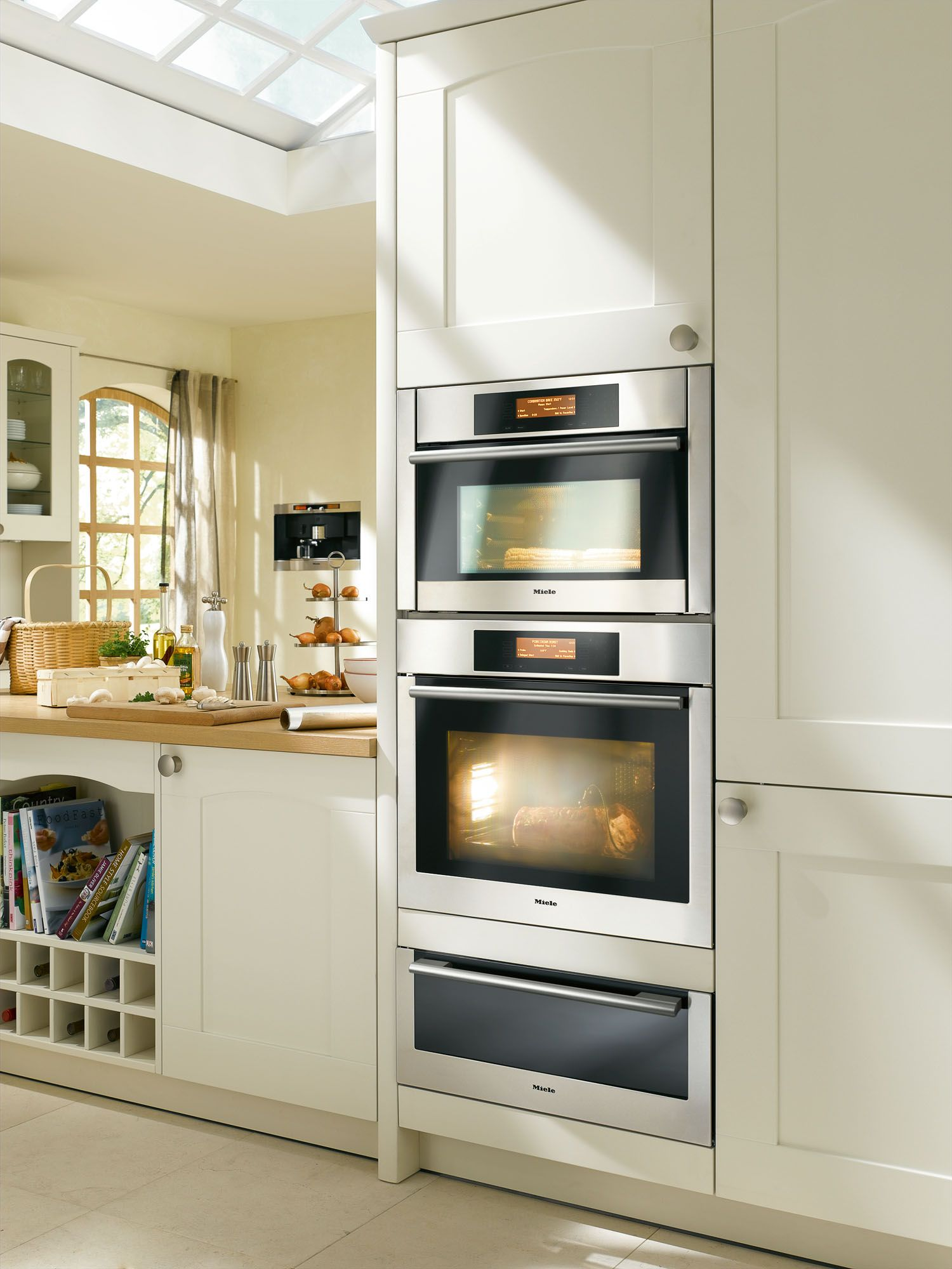 Built In Miele Ovens Vertical Tower Kitchen Redesign Kitchen