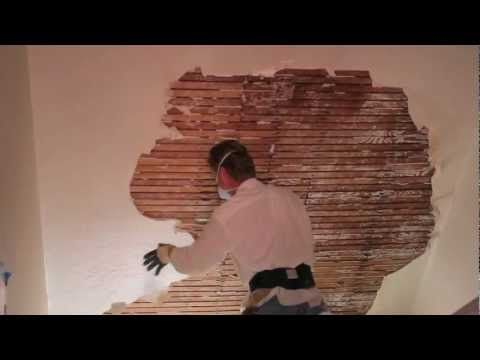 How to repair plaster patching on a wall and ceiling over wood lath homeownership pinterest for Interior stucco ceiling repair