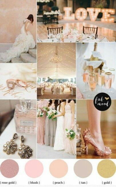 Rose Blush Gold Wedding Theme Color Palette For Autumn Colors