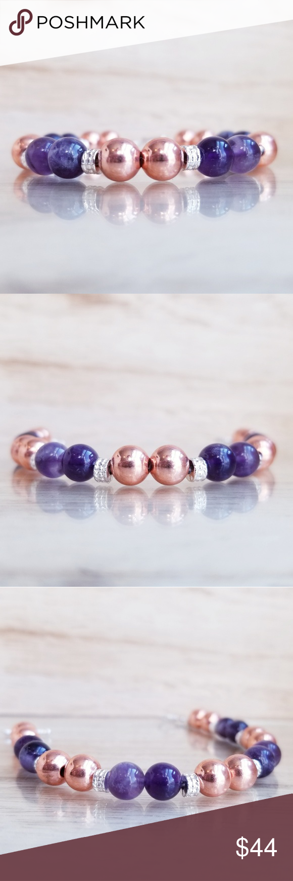 Rose Gold Amethyst Beaded Bracelet