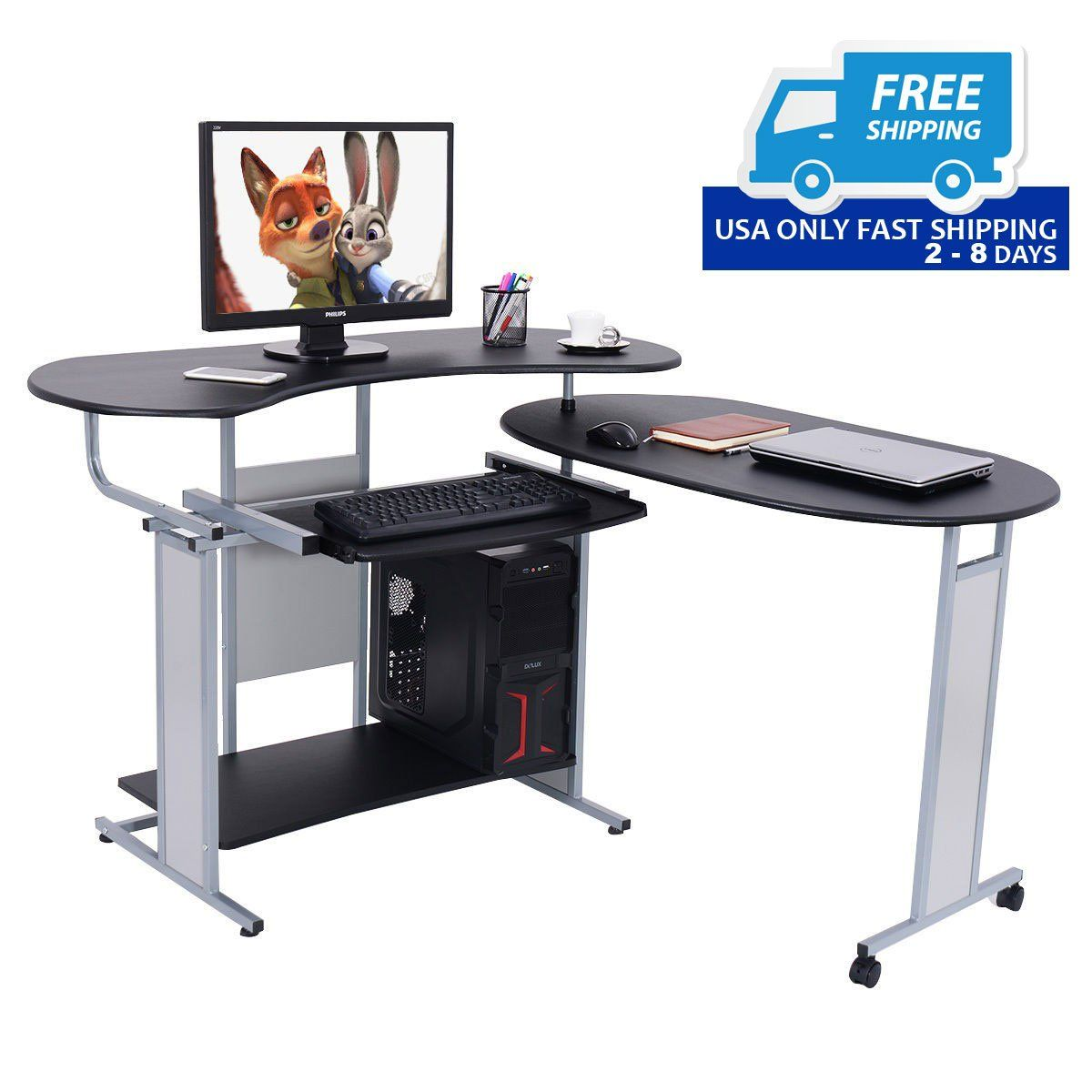 Expandable L-Shaped Computer Corner Workstation | Corner workstation, Wood computer desk, Desk