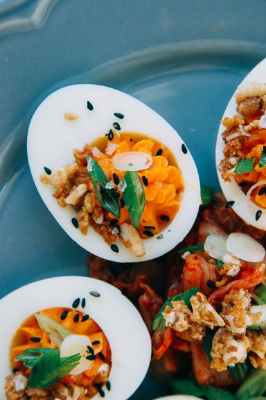 In VSCO Preset AgfaVista 100 Cold +    Miso Kimchi Deviled Eggs makes 10  5 eggs 2 Tbsp Kewpie Mayo 1 tsp white miso paste 1 tsp Gochujang – Korean hot pepper paste 2 pinches fine…