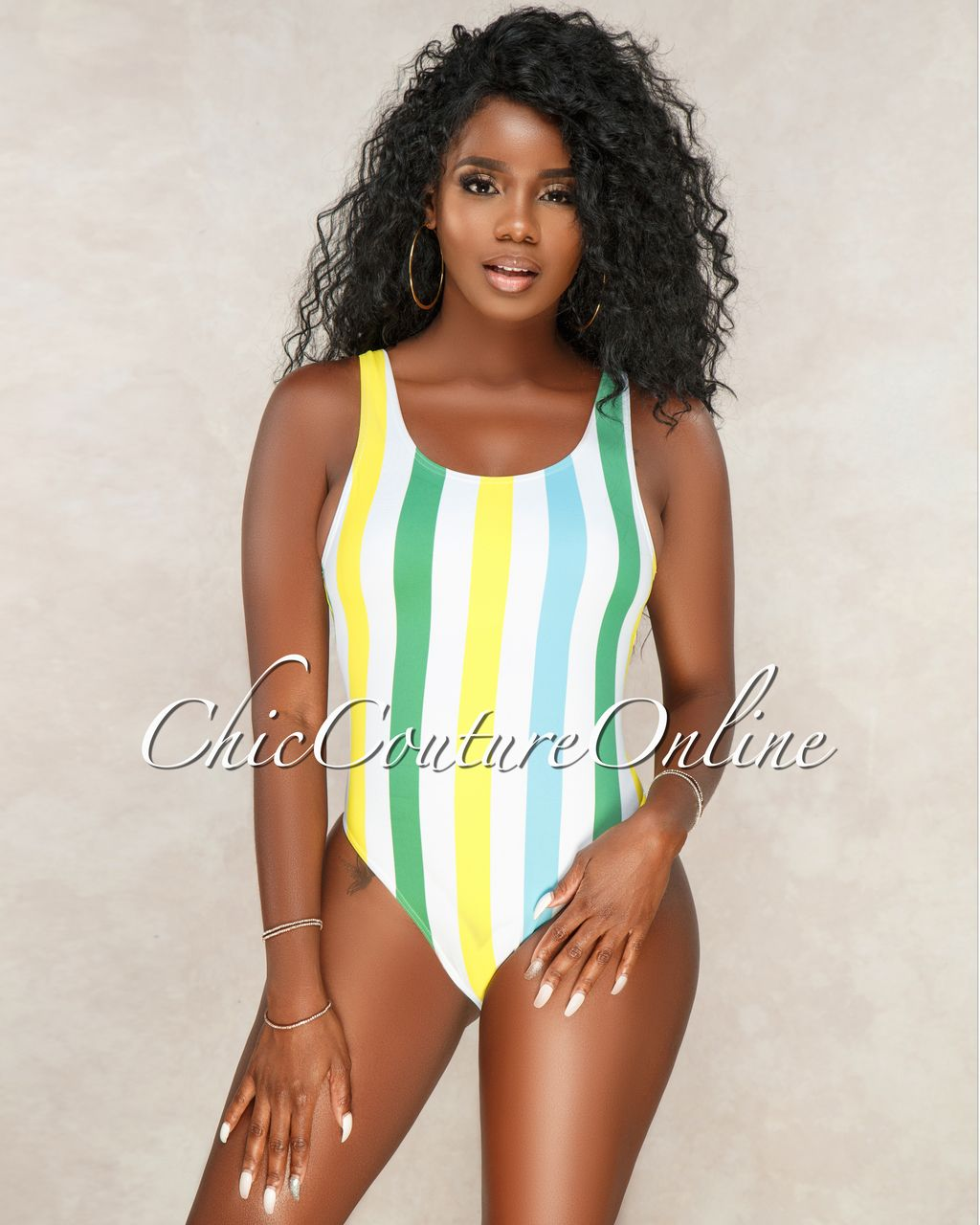 ffa23445797 Chic Couture Online - Oriana Off White Blue Yellow Stripes One Piece  Swimsuit, (https