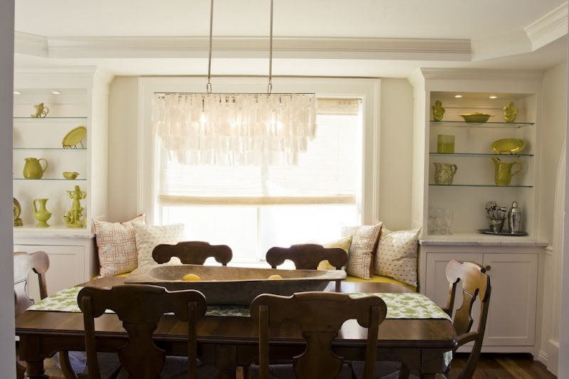 Carrara Marble Tops Built In Dining Room Cabinetry On Either Side Of The