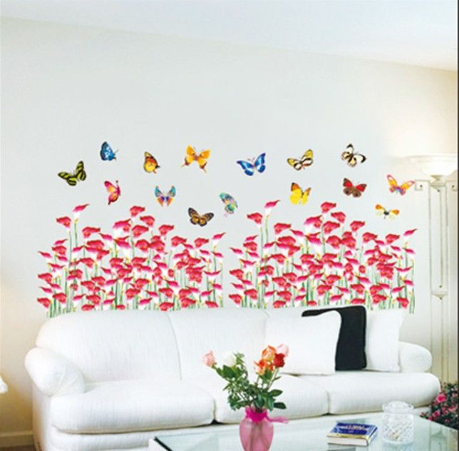 Kids playroom viveros dormitorio flores mariposas pared for Pegatinas pared dormitorio