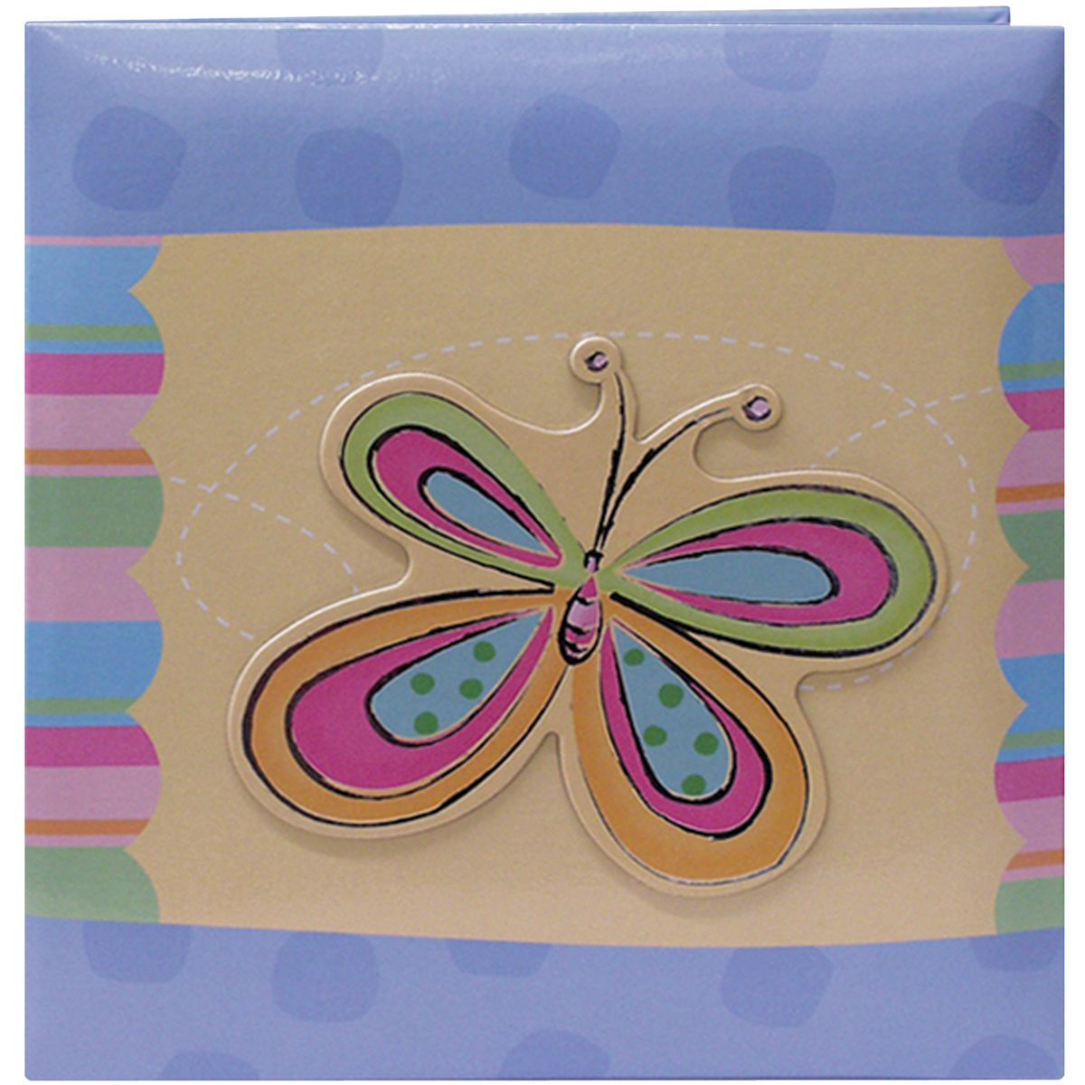 """Pioneer 3-D Applique Striped Albums 12""""x12""""-Butterfly"""