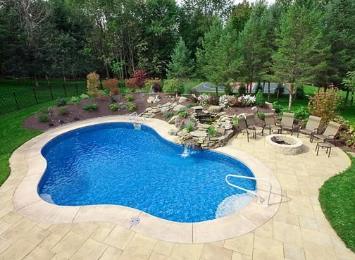 20 X 40 Lagoon Vinyl Lined Small Inground Pool Pool Landscaping