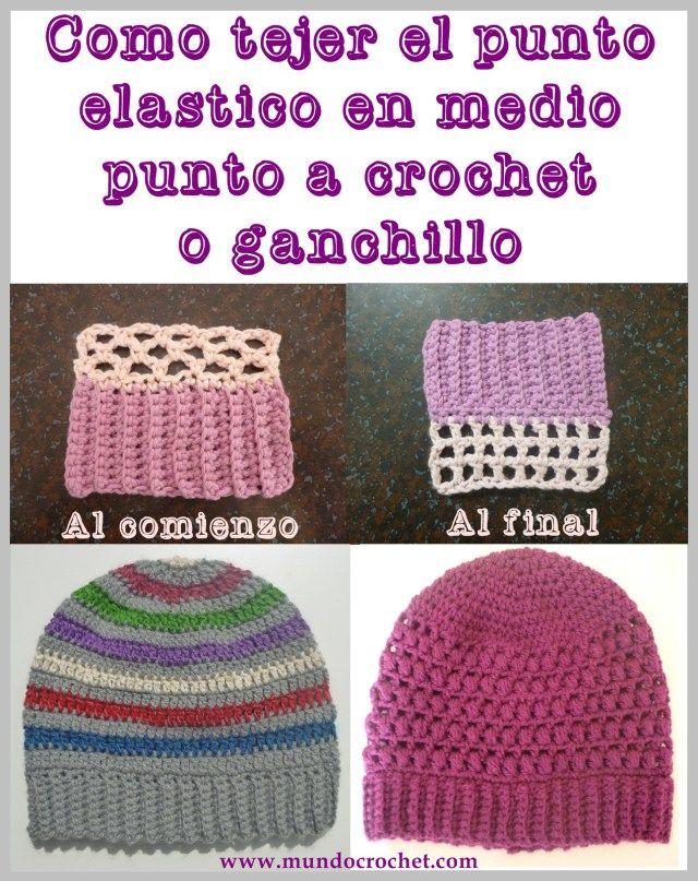 Como tejer el punto elastico con medio punto a crochet o ganchillo ...