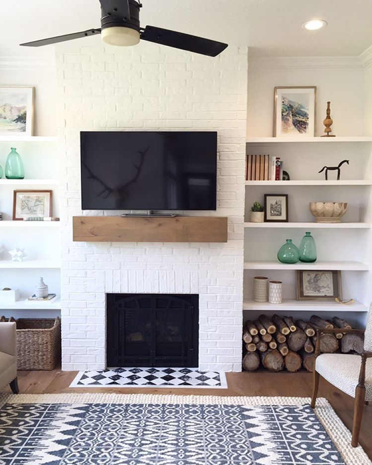 I love this super simple fireplace mantle and shelves for Shelving ideas for living room walls