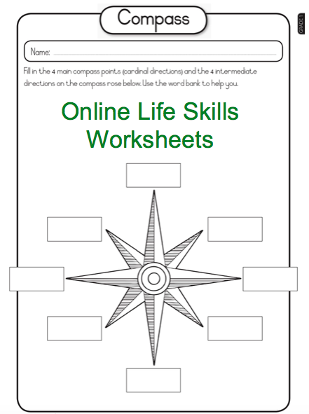 grade 1 online life skills worksheet compass and direction worksheet for more visit www e. Black Bedroom Furniture Sets. Home Design Ideas
