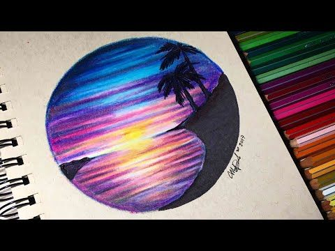 Paisaje Super Facil Con Lapices De Colores Paso A Paso Youtube Mandala Drawing Color Pencil Art Art Sketches