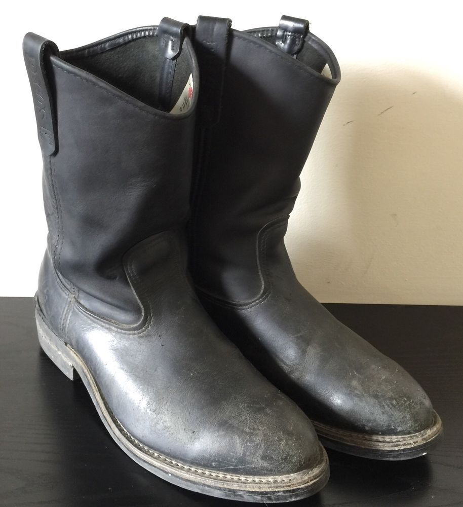 c29070f9540a RED WING Pecos 1116 11 inch Black Leather Roper Pull on Vintage Boot Men  size 12