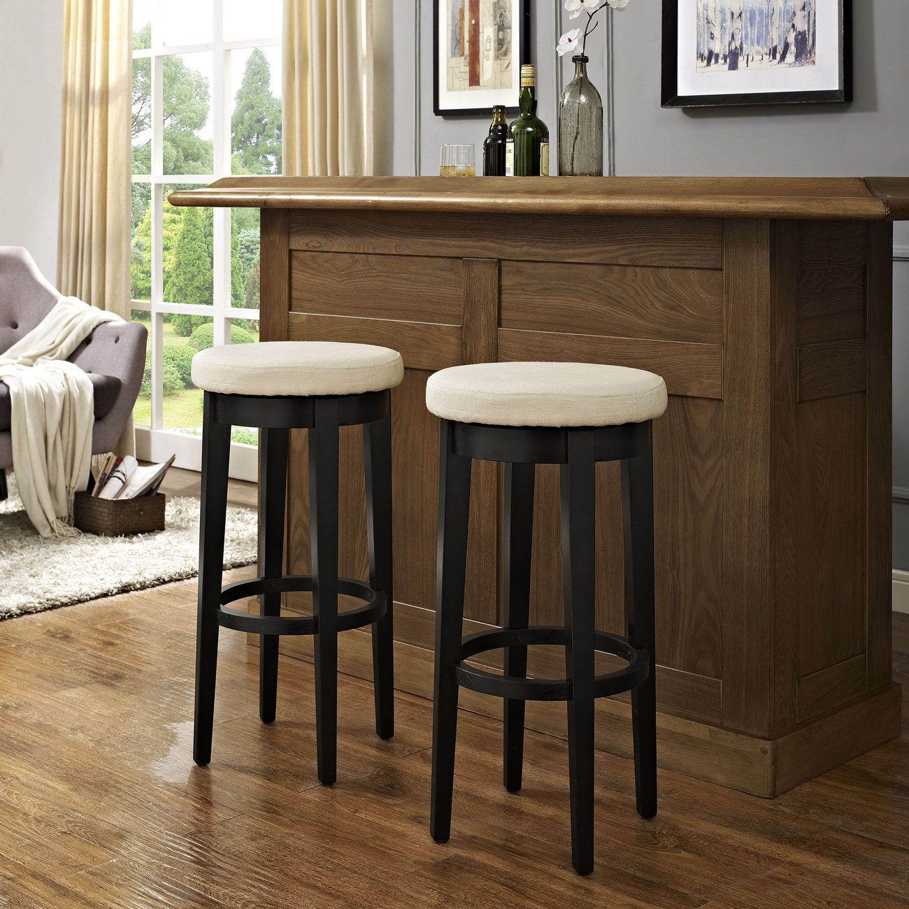 Mitchell Swivel Bar Stool In Black W Creme Cushion Set Of 2