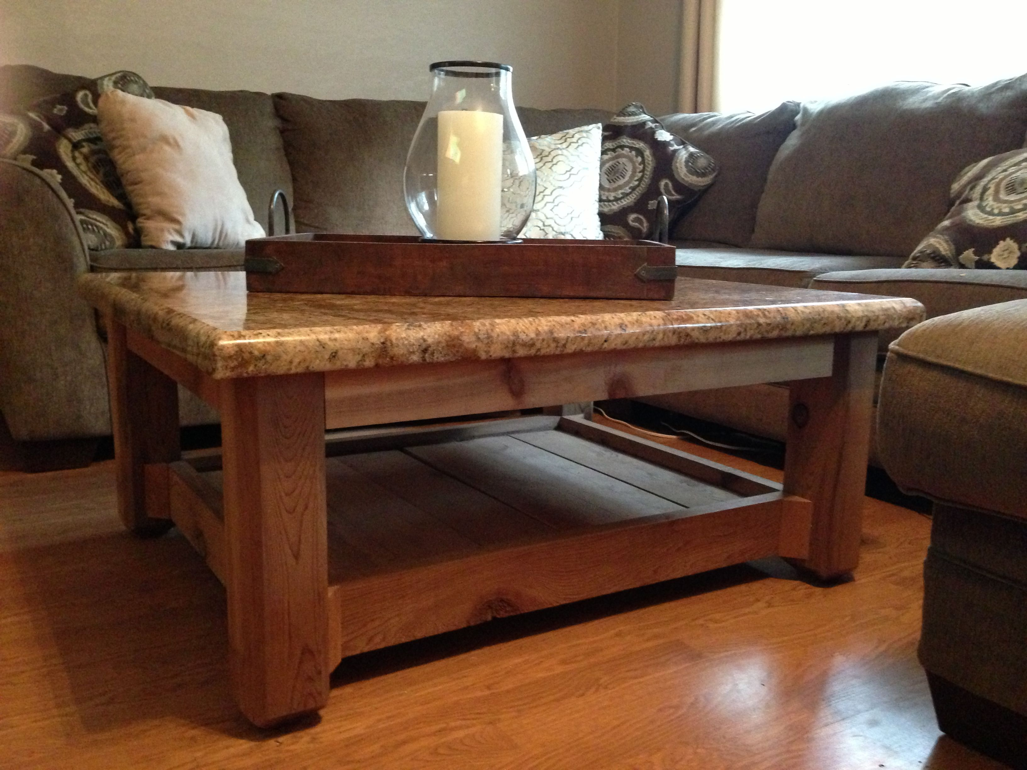Custom Made Rustic Coffee Table Cedar Base And Granite Top The Acre