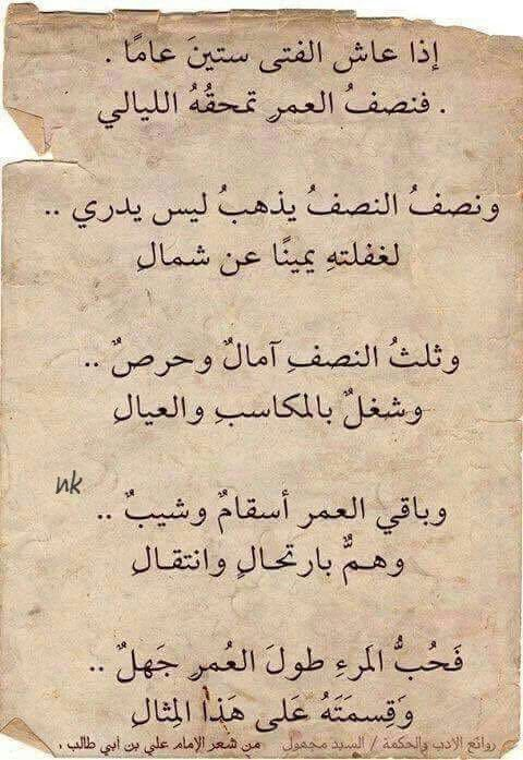 من شعر سيدنا علي بن أبي طالب رضي الله عنه Proverbs Quotes Quote Posters Arabic Quotes