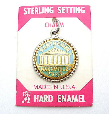 Enamel Nashville Tennessee Charm Sterling Silver Parthenon New Stock Vintage TN | eBay