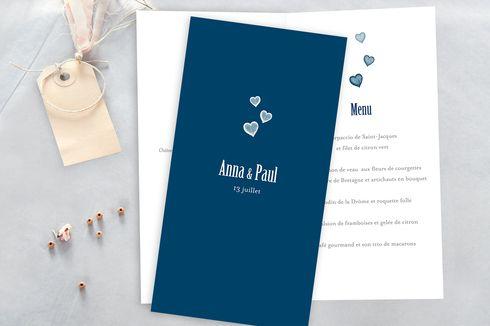 menu de mariage coeurs (4 pages) par Tomoë pour www.fairepart.fr #mariage #menu #wedding