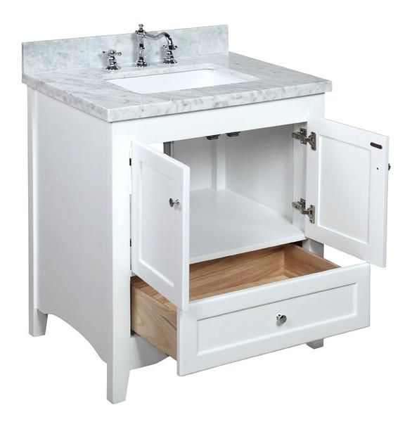 Abbey 30-inch Vanity (Carrara/White) Bathroom vanities, Plywood