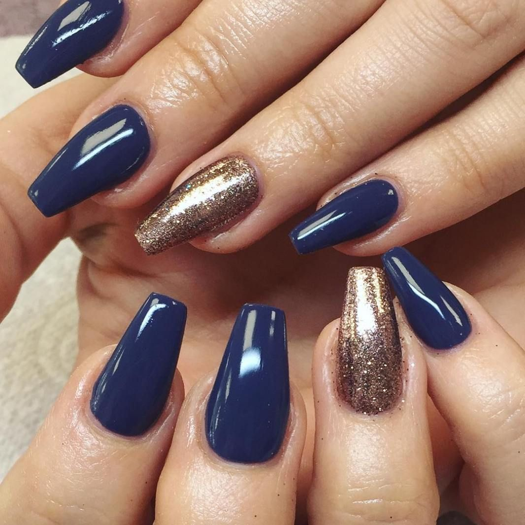 Indigo and gold glitter nails