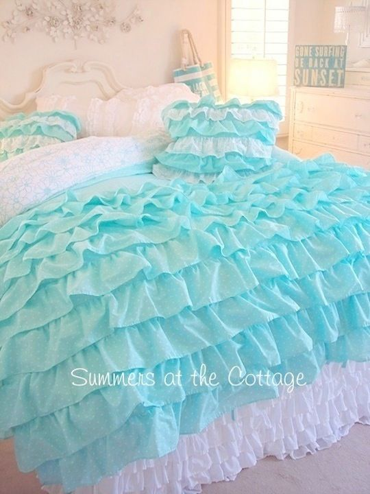 King shabby cottage chic layers of dreamy aqua petticoat ruffles duvet comforter cover set - Housse de couette shabby chic ...