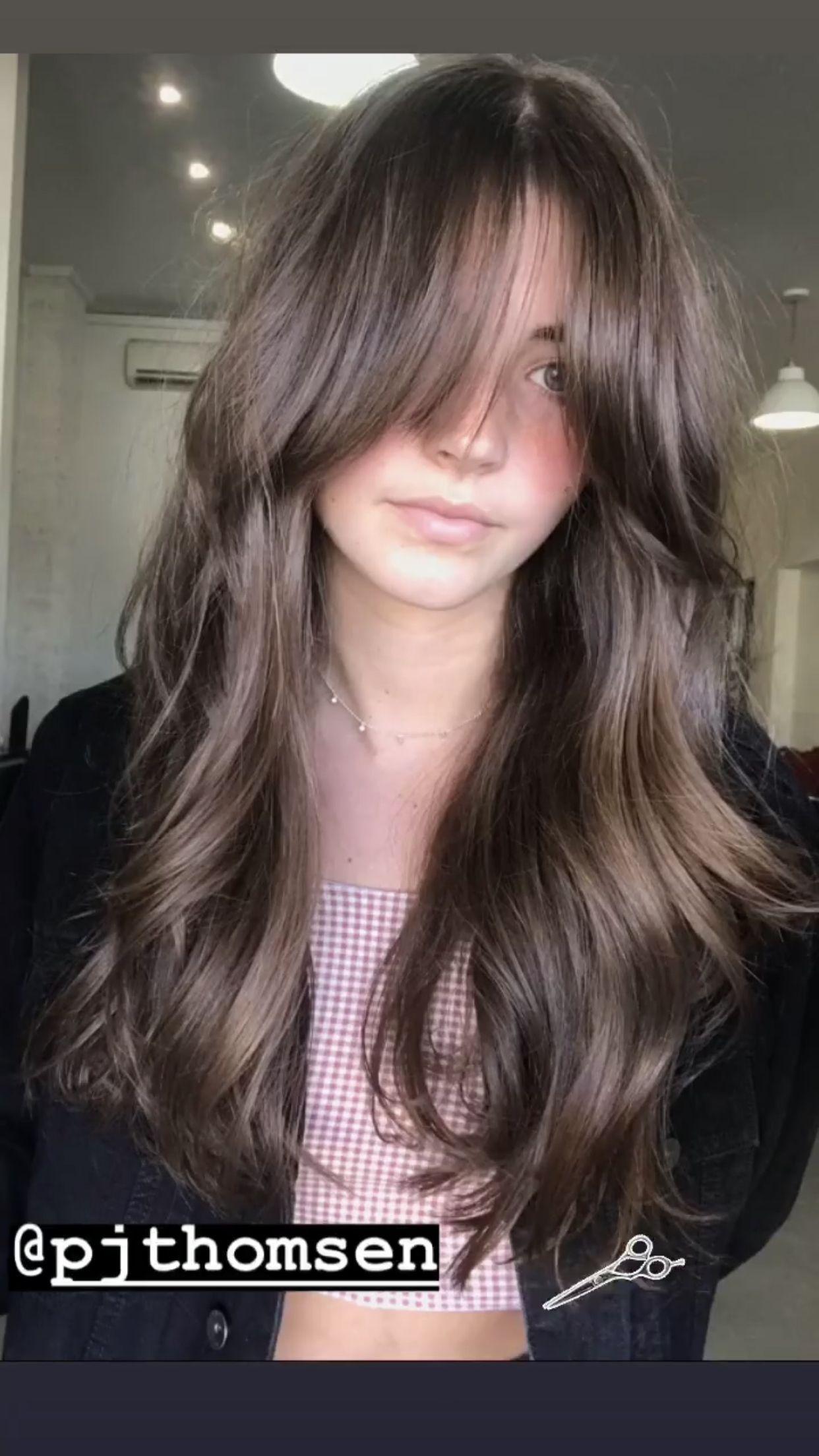 Follow Pjthomsen On Instagram Bangs Brunette Curtainbangs Longhair Beau Bangs In 2020 Hair Styles Haircuts For Long Hair Grunge Hair