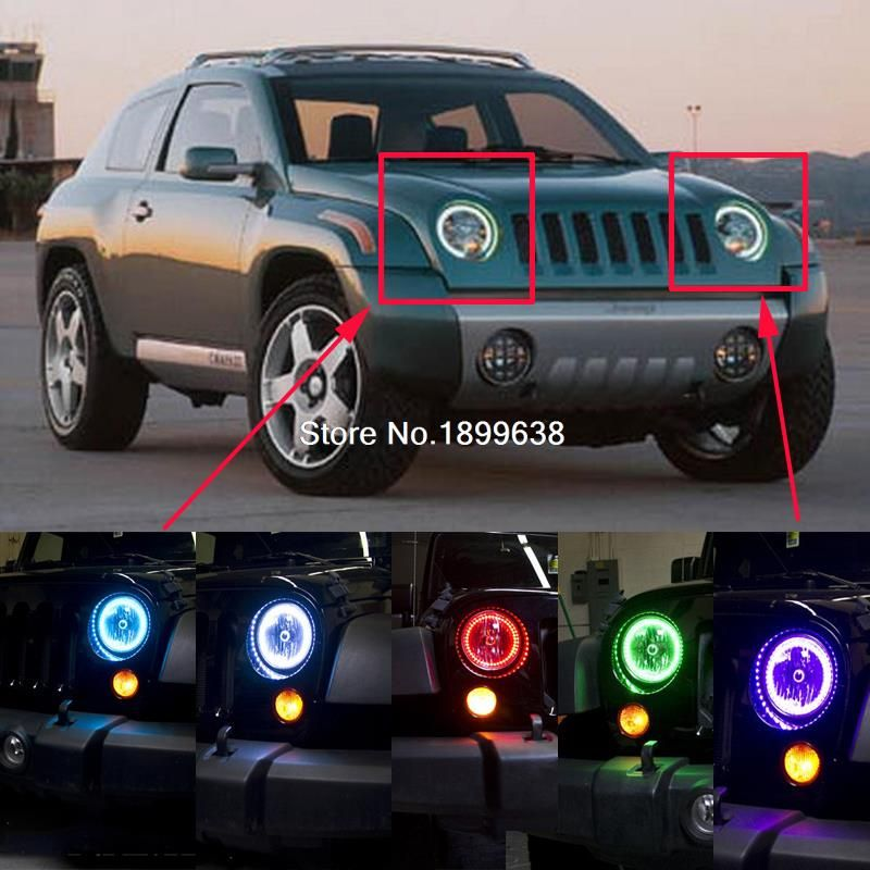 2pcs Super Bright 7 Color Rgb Led Angel Eyes Kit With A Remote Control Car Styling For Jeep Patriot 2007 2016