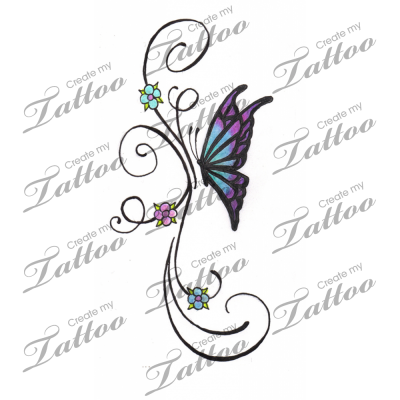 b17fb9583 Marketplace Tattoo Little Butterfly and Flower Vine Tattoo #2764 |  CreateMyTattoo.com