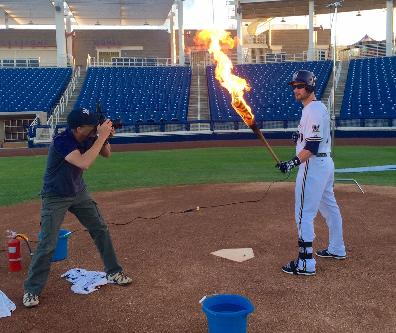 We All Know Jonathan Lucroy Swings A Hot Bat Here The Brewers All Star Participates In A Cool Photo Shoot With P Milwaukee Brewers Brewers Baseball Brewers