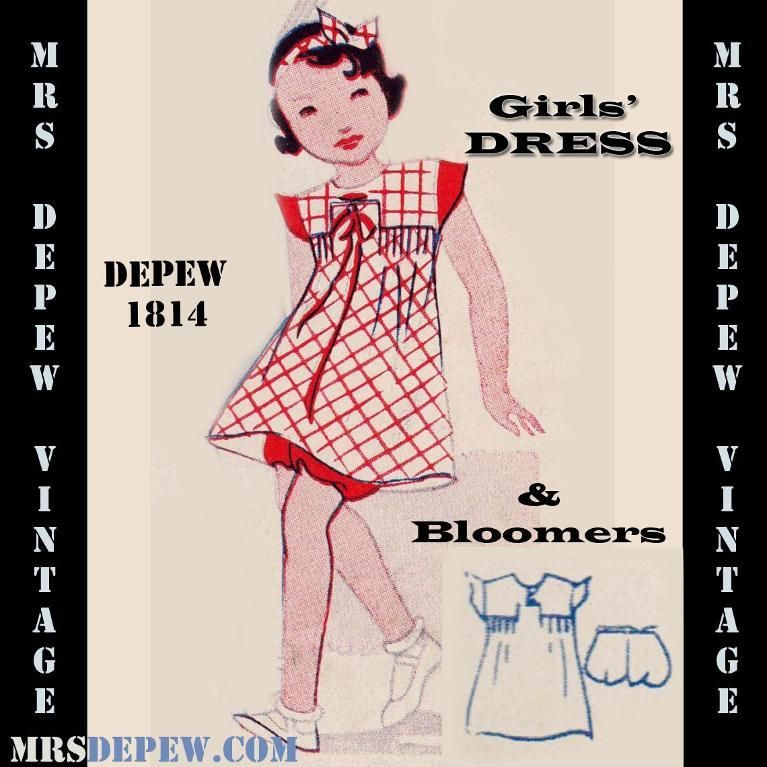 Vintage Sewing Pattern 1930\'s Girls\' Dress and Bloomers Any Size ...