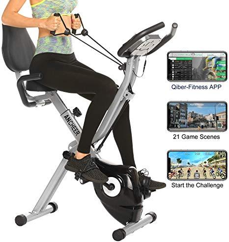V/élo dAppartement R/ésistance R/églable et /Écran LCD ANCHEER V/élo de Fitness V/élo dInt/érieur V/élo dexercice Stationnaire avec Volant 49LBS Contr/ôle APP