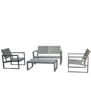 Salon de jardin gris KATOOMBA, 4 pièces - Aluminium et ...