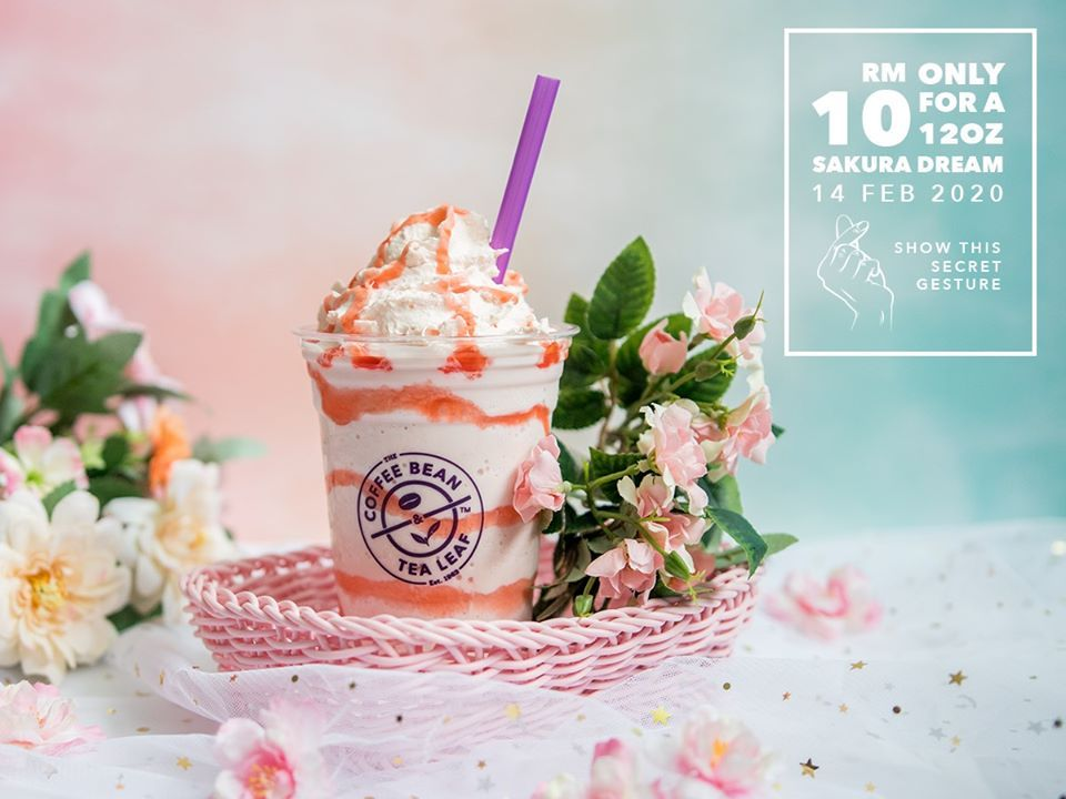 The Coffee Bean Valentine S Day Promotion Sakura Dream Ice Blended Rm10 14 Feb 2020 Coffee Beans Tea Leaves Valentines Day