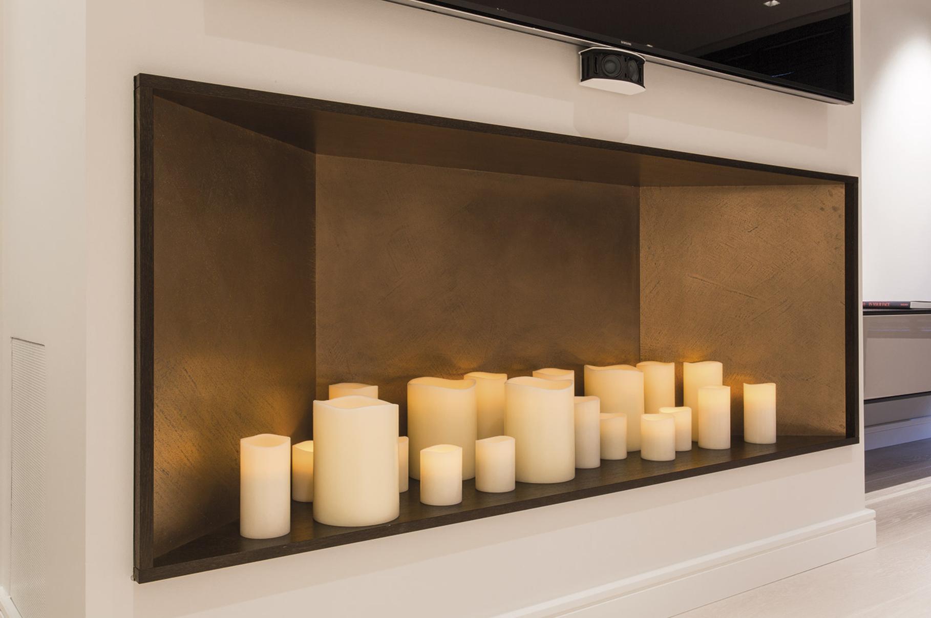 Kerzen In Wand Eingelassen Unter Tv Regal Wand Kerzen
