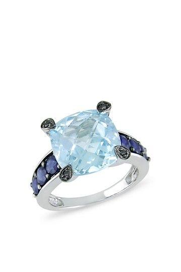 Two-Tone Sky Blue Topaz, Sapphire & Black Diamond Fashion Ring