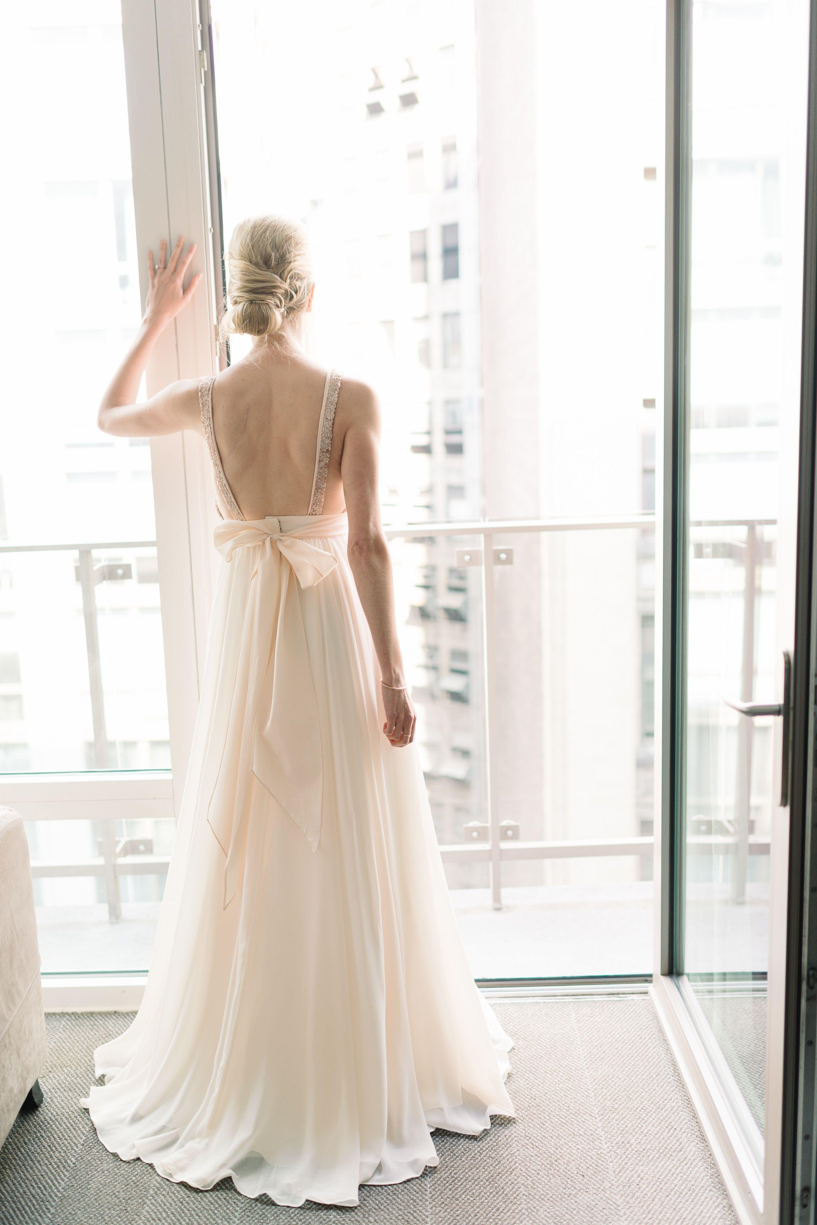 Gold white wedding dress  Rose Gold Wedding Dress  Michelle Lange Photography  Theknot