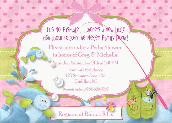 Fishing Baby Shower Invitation   Fish Tales Baby Girl Shower