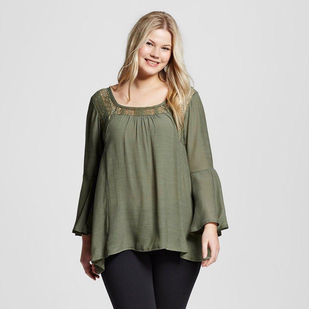 Women's Plus Size Bell Sleeve Square Yoke Peasant Top