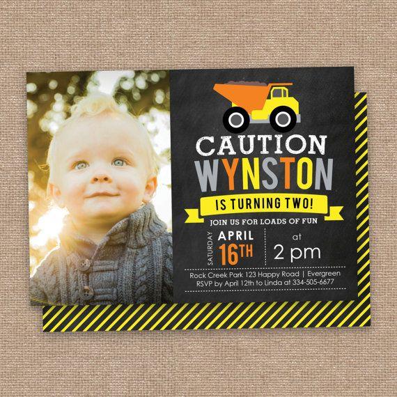 Caution 2nd Birthday Invitation Photo Construction Theme Dump