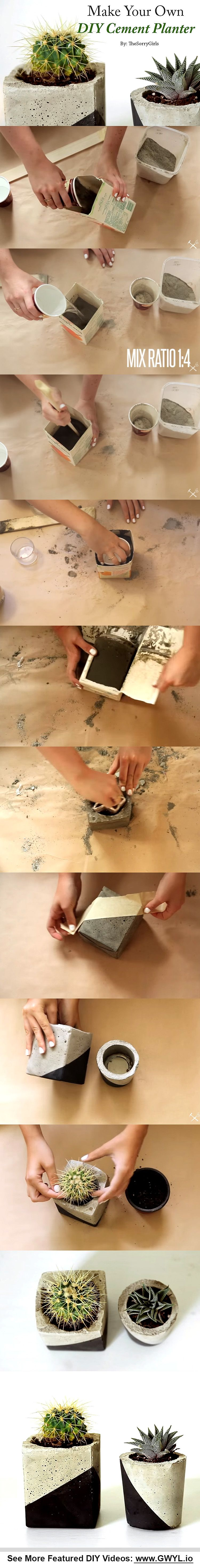 On this project, the materials used are recycled materials like small milk cartons and old plastic food containers. See video and written instructions here==> | Make Your Own DIY Cement Planter | http://gwyl.io/make-diy-cement-planter/