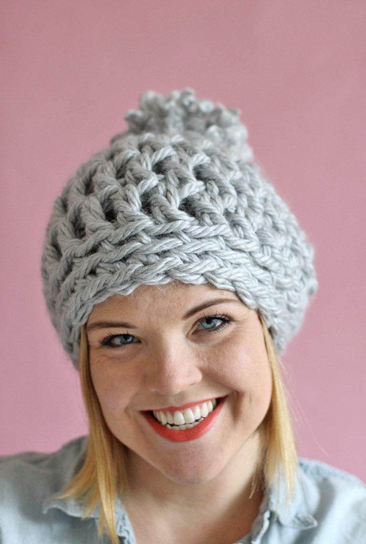 30 Minute Easy Chunky Crochet Beanie | Mütze, Häkeln und Handarbeiten