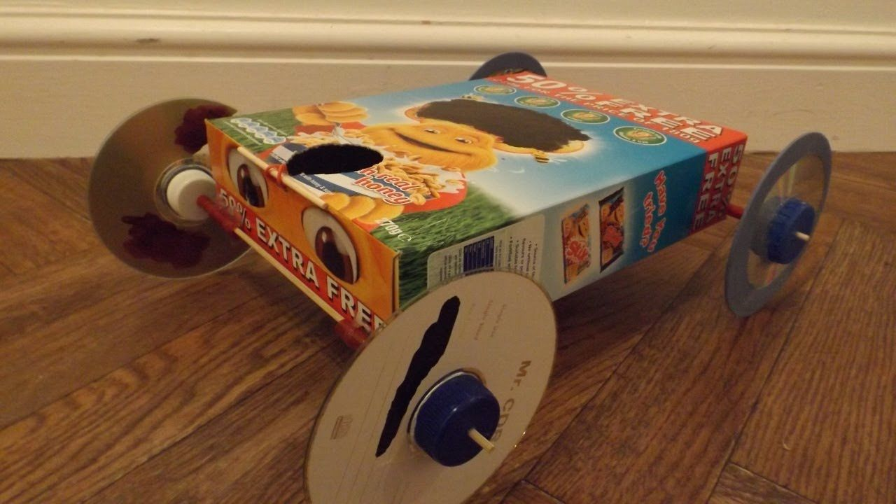 Cereal box rubber band powered car makerspace for What to make out of cereal boxes