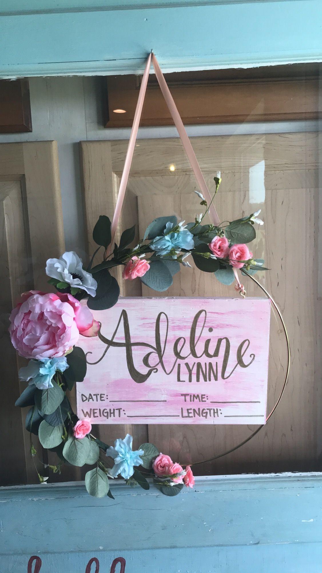Baby girl hospital door hanger babygirl boho flowers